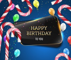 Happy birthday background with glass banner vectors 07