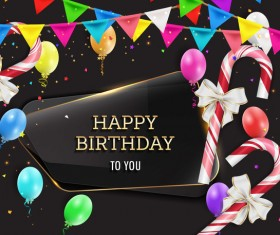 Happy birthday background with glass banner vectors 08
