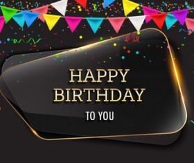 Happy birthday background with glass banner vectors 09