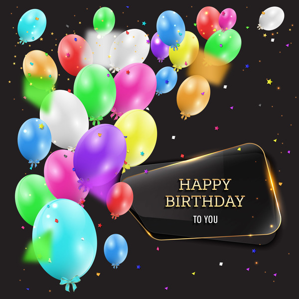 Happy Birthday Background With Glass Banner Vectors 10