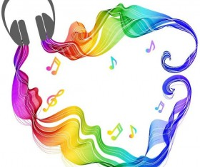 Headphones and music colored wave background vector