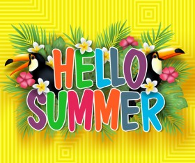 Hello summer background with Tropical birds vector