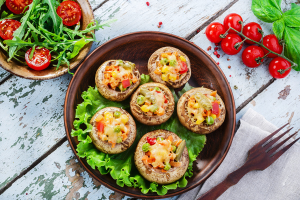 Home oven gourmet grilled mushrooms Stock Photo 01