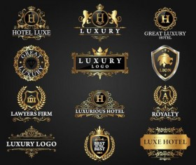 Hotel luxury labels vector