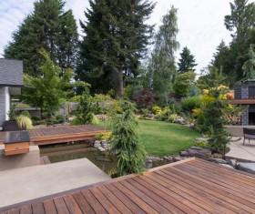 House and courtyard garden Stock Photo 03