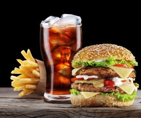 Ice cola and french fries hamburger Stock Photo