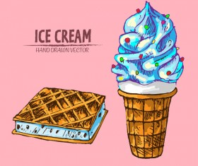 Ice cream hand drawn vector material set 04