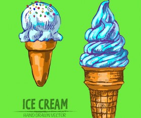 Ice cream hand drawn vector material set 06