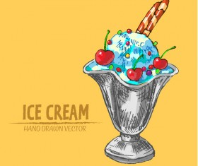 Ice cream hand drawn vector material set 12