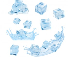 Ice cubes with water splashes vector illustration 01