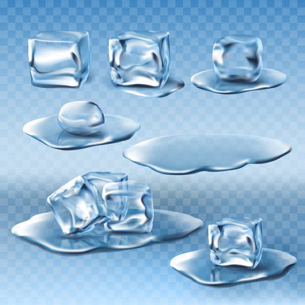 Ice cubes with water splashes vector illustration 02