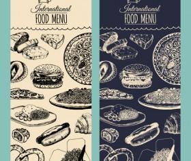 International food menu cover template vector