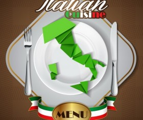 Italian cuisine menu cover vector