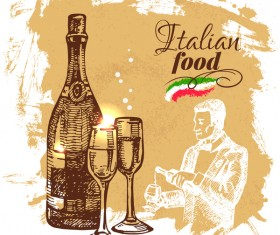 Italian food vintage poster vector 01