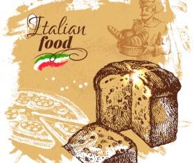 Italian food vintage poster vector 05