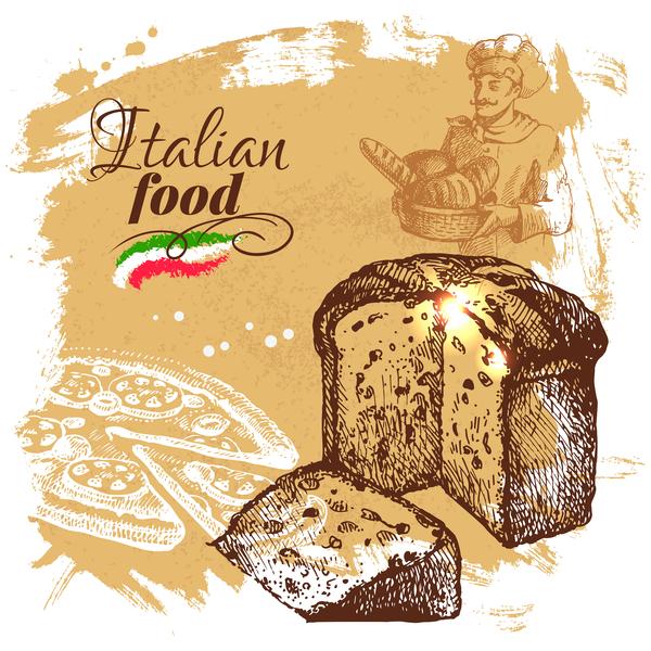 Italian food vintage poster vector 05 free download