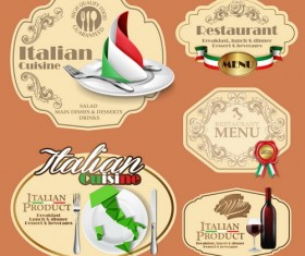 Italian menu labels vectors set 01