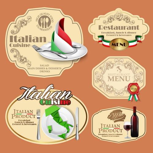 Italian menu labels vectors set 01