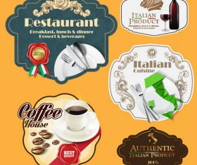 Italian menu labels vectors set 02