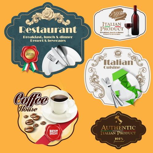 Italian menu labels vectors set 02