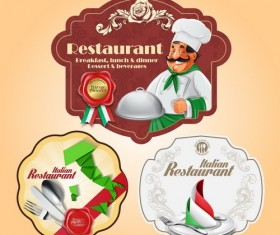 Italian menu labels vectors set 03