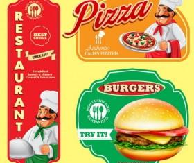 Italian menu labels vectors set 04