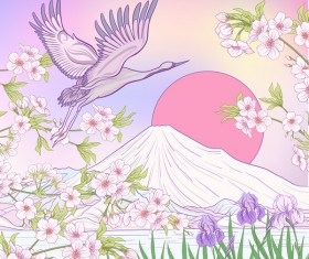 Japan mount Fuj landscape hand drawing vector 09
