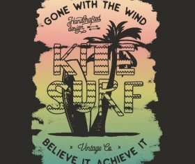Kite with surf vector design