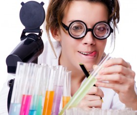 Lab technician with funny expression Stock Photo