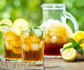 Lemon Cold iced tea Stock Photo 01