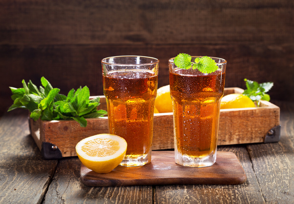 Lemon Cold iced tea Stock Photo 06