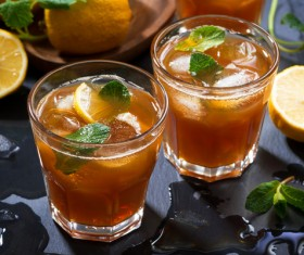 Lemon Cold iced tea Stock Photo 08