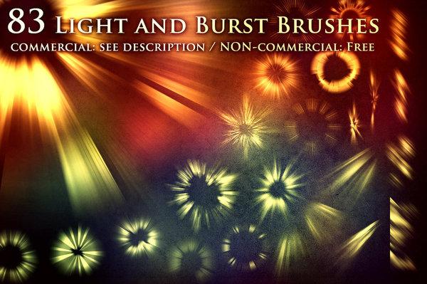 Light and burst photoshop brushes set