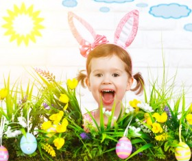 Little girl and Easter eggs Stock Photo 01