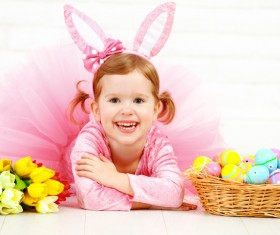 Little girl and Easter eggs Stock Photo 02