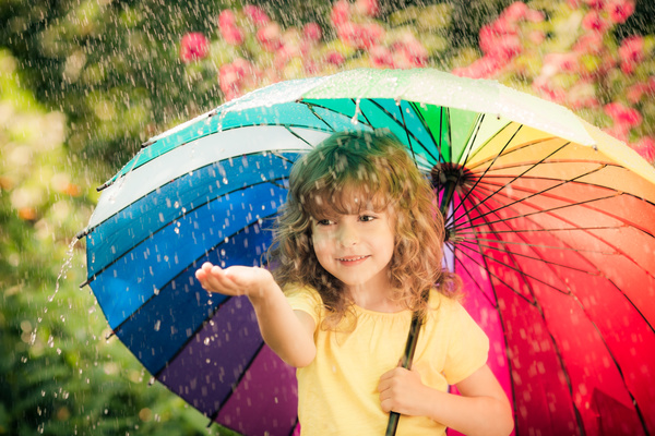 Little girl playing outdoors on rainy day Stock Photo 01