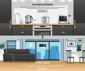 Living room and kitchen interior design vector
