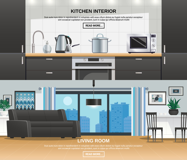 Living Room And Kitchen Interior Design Vector Free Download