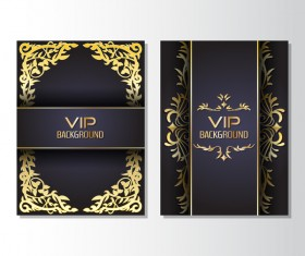 Luxury golden VIP brochure cover template vectors 01