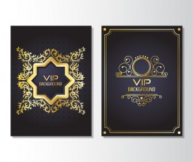 Luxury golden VIP brochure cover template vectors 02