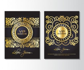 Luxury golden VIP brochure cover template vectors 04