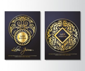 Luxury golden VIP brochure cover template vectors 05