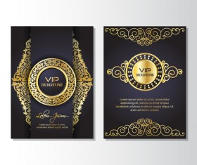 Luxury golden VIP brochure cover template vectors 06