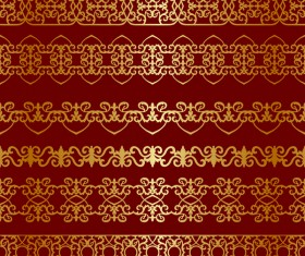 Luxury golden seamless borders vector 03