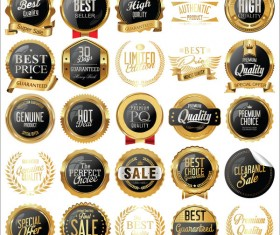 Luxury labels and laurels collection vector illustration