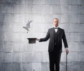 Magician change pigeons 02