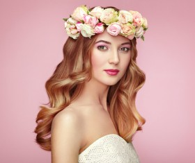 Make-up girl wearing a garland Stock Photo 01