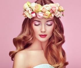Make-up girl wearing a garland Stock Photo 03