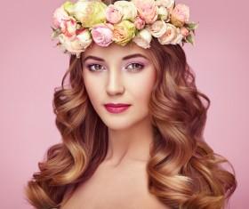 Make-up girl wearing a garland Stock Photo 05
