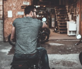 Man riding motorcycle Stock Photo 02